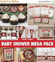 SALE Baby Shower Mega Pack - Buffalo Plaid Woodland / INSTANT DOWNLOAD / Lumberjack Baby Shower Decoration / Fox Moose Bear / Printable bs05