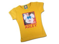Girl's Easter Shirt with Bunny Box and Embroidered by SunbeamRoad