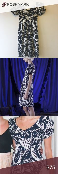 Marc Jacobs Floral Print Taffeta Dress Navy and white puff-sleeve dress. Wore once for a wedding and now doing a closet purge. Marc Jacobs Dresses Midi