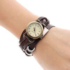 Couro analógico relógio pulseira de quartzo das mulheres (Brown) – BRL R$ 20,20