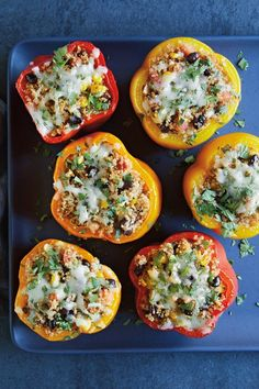 bell pepper recipes Here, this bell peppers stuffed with quinoa, black beans and corn recipe gets a modern Tex-Mex twist. For a vegan version, leave out the cheese. Stuffed Bell Peppers Quinoa, Vegetarian Stuffed Peppers, Williams Sonoma, Tortillas, Corn Recipes, Pepper Recipes, Quick Recipes, Veggie Recipes, Party