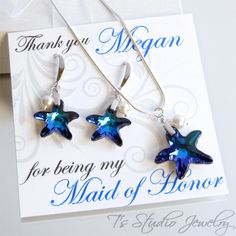 Blue Starfish Bridesmaid Necklace and Earrings Gift Set - from T's Studio Jewelry
