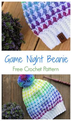 Use our free pattern to make this colorful beanie hat, ideal to wear to your next game night. Free Crochet, Crochet Baby, Knit Crochet, Crochet Beanie Pattern, Crochet Patterns, Hat Patterns, Crochet Ideas, Beanie Hats, Slouchy Beanie