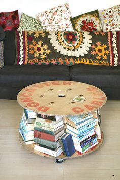 Love the wooden cable spool tables idea!