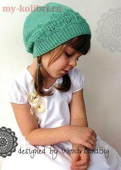 Как связать красивую детскую шапочку спицами на 4-6 лет: схема и описание вязания на сайте Колибри. Шапочка вяжется снизу вверх, круговыми рядами от планки к макушке.