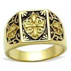 Gold Ion Plated Men's Coat of Arms Ring Eternal Sparkles. $20.99