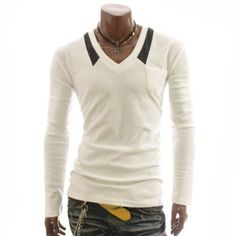 Doublju Mens V-neck Long Sleeve T-shirts