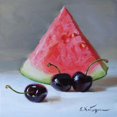 """Watermelon and Cherries"" - Original Fine Art for Sale - © Elena Katsyura"