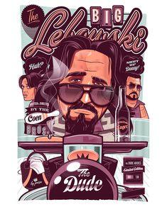 the big lebowski, fan art, vector illustrations, movi poster, retro posters