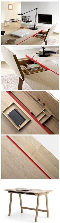 Una mesa de trabajo con espacios inteligentes para guardar y organizar objetos. La mesa es de líneas simples, moderna y minimalista. Acabado en madera natural.