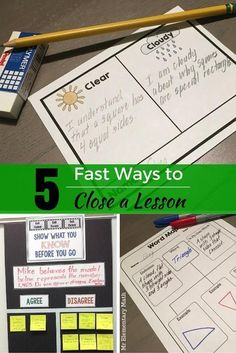 Discover 5 easy lesson closure ideas and activities that you can use instantly in your classroom. Great for formative assessment! Strategies include exit slips, graphic organizers, question stems and more. Grab FREE lesson closure templates in the post.