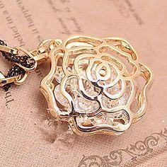 Coreia do oco frase rosas corda preta pendurada inverno cristal de cadeia longa camisola (cor aleatória) – BRL R$ 8,97