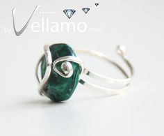 Modern sterling silver adjustable ring with green by byVellamo, $24.00