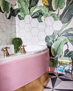 """also possible for bathroom if not pink subway tile, wall paper """"bee hive"""" back splash on top, gold fixtures, pink counter Boho Bathroom, Bathroom Styling, Bathroom Interior, Modern Bathroom, Small Bathroom, Tropical Bathroom, Palm Tree Bathroom, Botanical Bathroom, Jungle Bathroom"""
