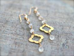 Moonstone orecchini pendenti in pietre dure gioielli di