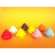 Kawaii Cute Poo Mini Rubber Doll Collection Smile Toy Rare Japan - a photo on Flickriver found on Polyvore