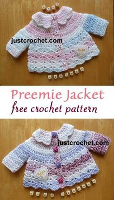 Free baby crochet pattern | Premature baby jacket | with collar | #crochet