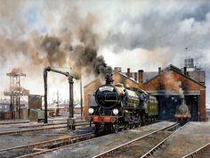 Steam Locomotive : Steam Train Painting by Howard Fogg 27 Train Wallpaper, Steam Art, Old Steam Train, Steam Railway, Train Art, Holland, Railway Posters, Train Pictures, British Rail