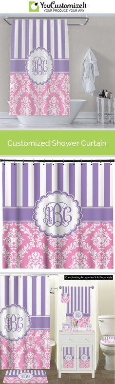 Pink /& Green Paisley and Stripes Bathroom Accessories Set Personalized