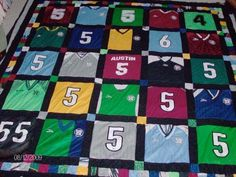 A quilt made out of the girls' jerseys and school shirts from all the years! Perfect keepsake!