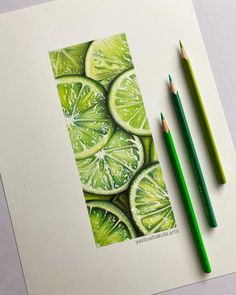 Drawing of Realistic Limes I've made. You can also try it out yourself and you can Buy this Drawing on my Etsy!