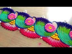 How to make easy and simple/unique border rangoli designs by Jyoti Rathod,rangoli,festival rangoli d Rangoli Borders, Rangoli Patterns, Rangoli Ideas, Rangoli Designs Diwali, Henna Patterns, Anniversary Party Games, Rangoli Simple, Festival Rangoli, Indian Rangoli