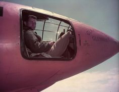 """Chuck Yeager in the cockpit of the X-1 (a.k.a. """"Glamorous Glennis""""), May 1948."""