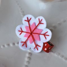 Felt Snowflake Clip-felt snowflake, snowflake unicorn, m2mg, pink, blue, red, white