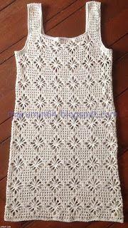 Marumin Crochet: Salida De Baño - Beach Cover Up - Diy Crafts - bobcik Crochet Summer Dresses, Black Crochet Dress, Girls Knitted Dress, Diy Crafts Dress, Diy Crafts Crochet, Crochet Shirt, Crochet Top, Baby Dress Tutorials, Crochet Flower Patterns