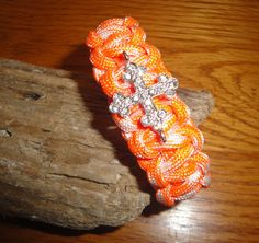 Orange and white paracord bracelet with by spreadblessings on Etsy, $7.00