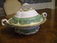 bohemian tureen | Early Pedestal Bowl With Handles And Lid - Hand Painted Landscapes ...