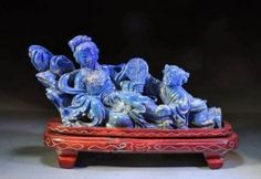 Fine Chinese Lapis Lazuli Carving on Wood Stand, Lady