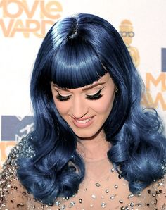 blue hair. Katy Perry costume. a dress and wig, done.