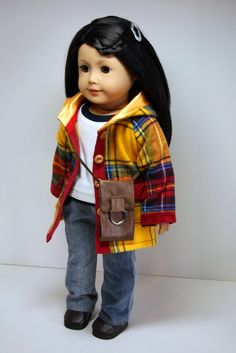 American Girl Doll Clothes-Hooded Jacket, Shirt, Tank, Bootcut Jeans and Shoulder Bag