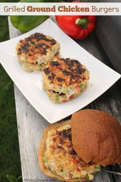 Grilled Ground Chicken Burgers ~ NEW 31 Days of Grilling Recipes | 5DollarDinners.com