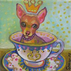 Teacup Chihuahua Art Print. $20.00, via Etsy.