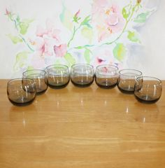 Handsome Vintage, Set of 7, Small, Smoky Gray, Roly Poly Cocktail Glasses by cocoandcoffeevintage