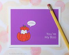 Cute Ghost Halloween Card by SunnyDoveStudio #cute #kawaii #ghost #boo #halloween #love #cards #greetingcards #handmade #etsy