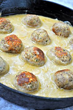 Quick and easy tempeh meatballs flavored with nutmeg and all spice. Browned to perfection, smothered in the best dang vegan Swedish meatball sauce ever!