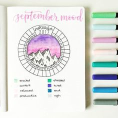 September's 😊😊 a slightly refined version of last month's one using more pastel colours and featuring another mountain scene ☺ anyone else using this type of mood tracker this month? Bullet Journal Tracker, Bullet Journal Notebook, Bullet Journal Spread, Bullet Journal Ideas Pages, Bullet Journal Inspiration, Bullet Journals, Journal Layout, Creations, Doodles