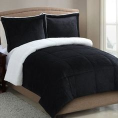 Luxury Home Micro 2 Piece Comforter Set Color: Black, Size: Queen