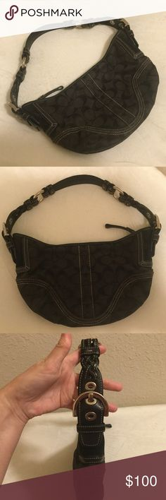 🖤Coach Black Hobo Bag🖤 Black Coach Purse with adjustable braided leather shoulder strap and silver hardware ;6 1/2 x 10 inches ; in very nice condition. Coach Bags Hobos