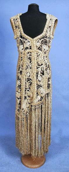 Ribbon Embroidered Lace Over-Dress - back - 1920's - Sleeveless ivory net decorated with heavy padded silk embroidery and French knots to below the hip, having a skirt of long ribbon fringe - Whitaker Auction - @~ Mlle
