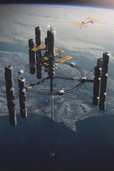 Space Elevator design for Ad Astra film. This was my first time art directing a project (the ILM side that is). The whole team met James Grey during pre-production back when there was only a basic story treatment. Spaceship Art, Spaceship Design, Arte Sci Fi, Sci Fi Art, Futuristic City, Futuristic Architecture, Concept Ships, Concept Art, Starship Concept