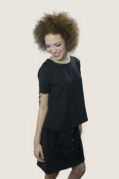 #moda #mujer #top #falda #black