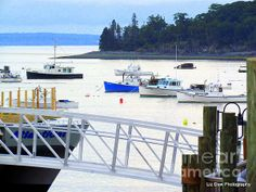 Calm Waters. Lobster boats in Frenchman's Bay in Bar Harbor Maine.