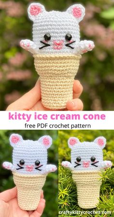"This amigurumi kitty ice cream cone is sweet, cute, and easy to make! If you love making play food and toys, then this is a must-crochet! In true ""kawaii"" style, this fun little dessert captures the realistic look of an ice cream cone as well as the adorable concept of cute decorated foods! It's sure to please as a gift or decor for kids of all ages! #crochet #easyamigurumi #amigurumicat #amigurumiicecream #amigurumiplayfood #playfood #crochetplayfood #playfoodpattern #amigurumipattern #free Crochet Ball, Crochet Baby Toys, Crochet Toddler, Quick Crochet, Crochet Gifts, Free Crochet, Crochet Doll Pattern, Crochet Patterns Amigurumi, Crochet Projects"