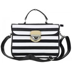 MODERN BOUTIQUE Black Stripe Messenger Bag - Pair this style statement handbag with red jewelry, lips and shoes for the designer inspired look!