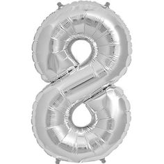 Silver Mylar Number Balloon 34"