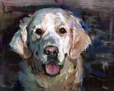 """Daily Paintworks - """"Forever Friends - a dog, golden retriever"""" - Original Fine Art for Sale - © adam deda"""
